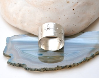 Silver wide band ring Sterling silver ring Stars ring Space jewelry Milky way Constellation Night sky Stardust Sterling silver jewelry