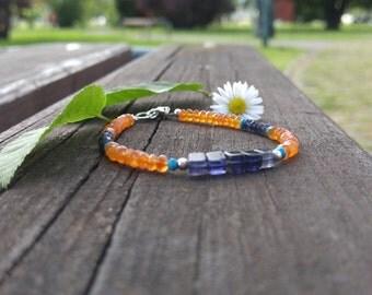 Iolite carnelian turquoise stone sterling silver bracelet