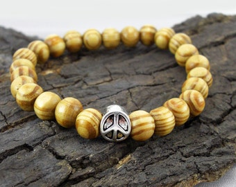 Bracelet peace and wooden beads hippie