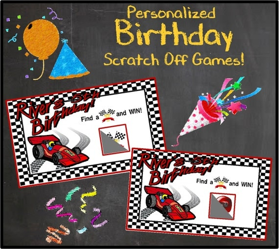 Personalized Race Car Birthday Single Scratch Off Game W/