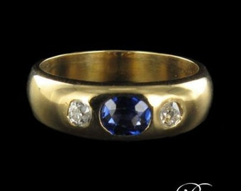 Ring Sapphire diamond ring yellow gold 18K 1900