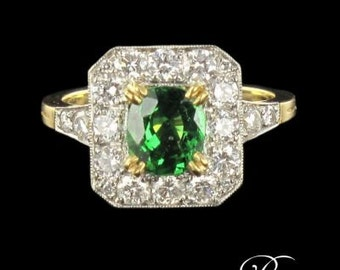 Demantoid Garnet ring yellow gold 18K Platinum modern