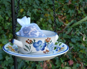 Bird Feeder Bowl and Saucer with Blue Flowers