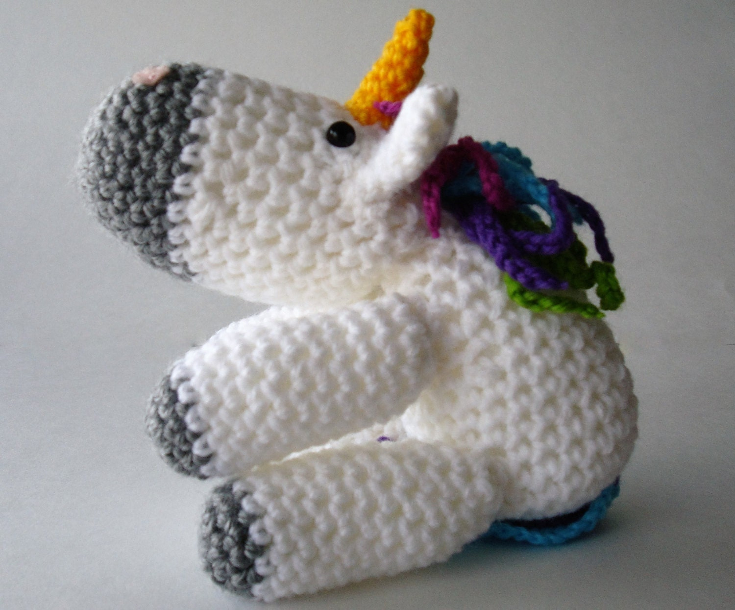Unicorn Amigurumi Yarn Yard : Crocheted unicorn amigurumi unicorn Stuffed white and grey