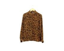 Vintage silk blouse / Leopard print silk shirt / Wrapped collar blouse / Satin silk 90s top