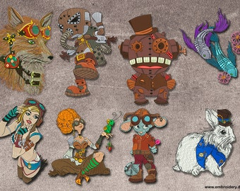 Steampunk embroidery designs pack (collection of 8)