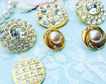 Vintage Buttons/Gilded Collection/Shabby Chic Buttons/MBV0004/Buttons/Rhinestone Buttons/Wedding Bouquet/Craft Supplies