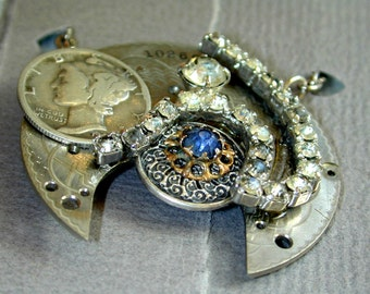 Upcycled OOAK Steampunk watchworks rhinestone dime necklace