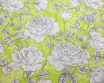 Grey Roses on Lime Green Background, Printed 100% Cotton Poplin Fabric. Price Per Metre