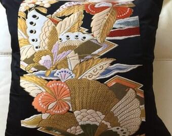 Vintage luxury Kimono's obi cushion - 1940's 50cmx50cm