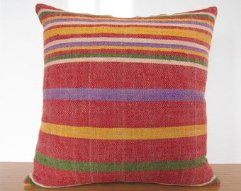 Colorful Handmade Kilim Lumbar 20 x 20 Home Decor Turkish Cushion Rustic Pillow Kilim Pillow Vintage Wool Rug Pillow Cover