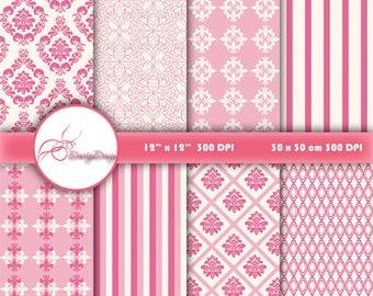 Pink damask digital paper, Wedding digital paper pack of pink damask backgrounds patterns Scrapbook Paper Damask, instant download 310