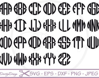 Circle monogram font SVG for Cricut, PNG, DXF files for silhouette, Vinyl Cut files, circle monogram svg Alphabet font for cutting machines