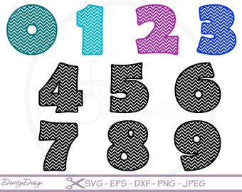 Chevron Numbers SVG cutting files, Chevron Numbers DXF, Letters cut files, DXF files silhouette, scrapbooking, svg files for cricut