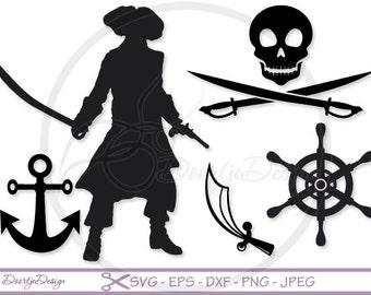 Pirate SVG files for Cricut, Silhouette pirates nautical, svg files Pirates, Vector cutting files SVG, DXF files nautical, cut files