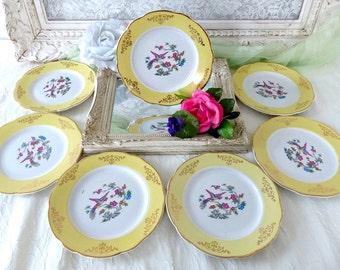 Set of 7 French Vintage KING LUNEVILLE FRANCE Porcelain Dessert Plates, Floral Bird Transferware, Pale Yellow Golden Design, Made in France