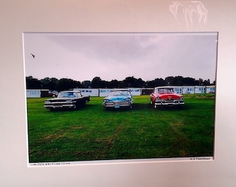 """Classic Cars Print, Signed Limited Edition A4 Color Landscape Photograph of Three American Cars in 40cm x 30cm (16"""" x 12"""") Mount"""
