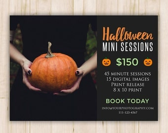 Halloween Marketing Mini Session Board - Booking Ad - Halloween Photoshop PSD Template - *INSTANT DOWNLOAD*