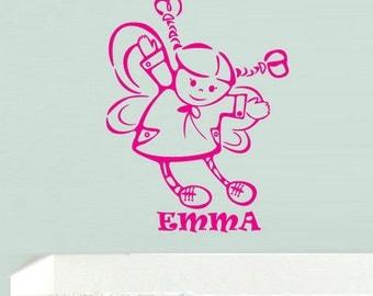 rvz646 Wall Vinyl Sticker Kids Baby Custom Name Little Princess Butterfly Wings