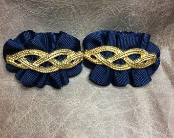 80's Bluette navy blue shoe clips gold accents