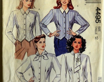 1980s McCall's Vintage Sewing Pattern 4495, Size 12; Misses' Blouse
