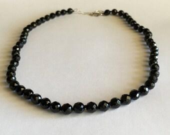 Rose Cut Onyx Necklace, Black Onyx Jewelry