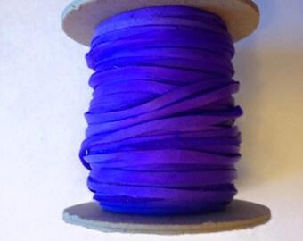 Deer skin lace 50ft spool 1/8in wide blue