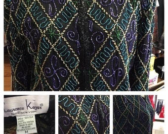 Lawrence Kazar holiday sequin long sleeve size med.