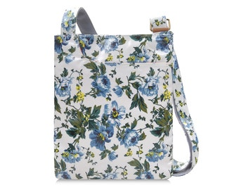Oilcloth Crossbody bag - Blue Peony - Oilcloth bag- Ladies Purse - Ladies Handbag - Floral Satchel  - Oil cloth bag- Laminated cotton