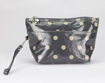 Medium Makeup bag- Oilcloth Cosmetic pouch- Oil cloth Makeup case - Ladies Beauty pouch - Cosmetic Zipper bag- Beauty purse - Grey Polka dot