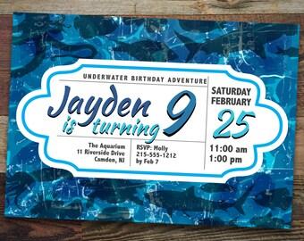 Printable Aquatic/Aquarium/Underwater Birthday Invitation (AB002)