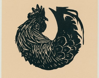 Rooster woodblock print by Kaptnrats