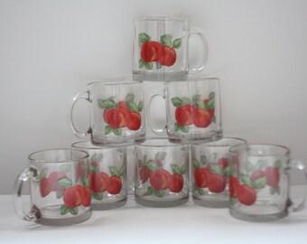 Apple Stencil Glass Hot Cider Mugs Vintage Set Of Eight (8), Red Apple