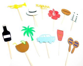 Caribbean Cupcake Toppers