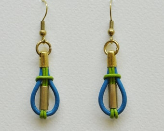 Leather and brass earrings