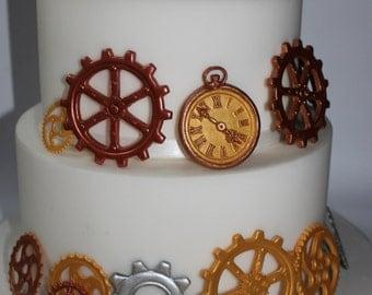 Steam punk gear wheels clock edible 28 gears gum paste fondant gold bronze silver