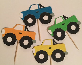 Set of 12 monster truck cupcake toppers