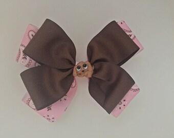 Pink and Brown ribbon hair bows, girl/baby, hairbow