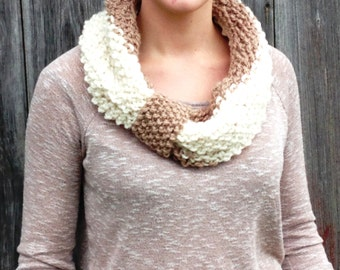 Two-tone Cinched Cowl Scarf