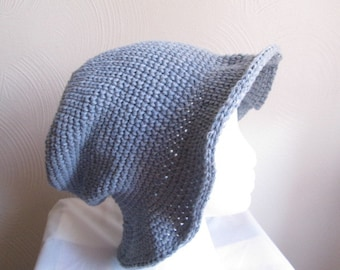 denim blue hat, blue beach hat, beach cap, sun hat, stonewashed denim, crochet hat, hat with brim, blue visor, 100 % cotton