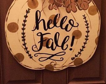 Hello fall pumpkin door hanger