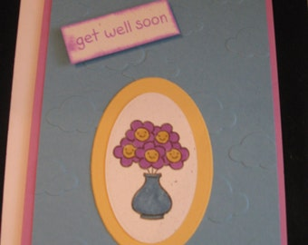 Set of 4 hand stamped get well cards