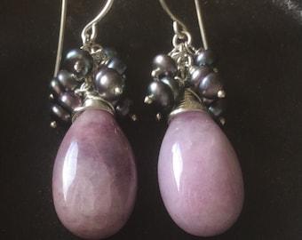 Purple Agate n FW Pearl Sterling Earrings- Handmade, semiprecious,holidays,