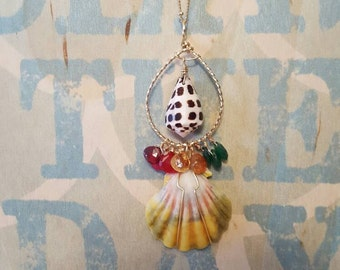 Sunrise shell necklace,hebrew cone shell,gemstones,gold filled,made in hawaii,hawaii jewelry,gift ideas,FREE SHIPPING