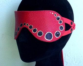 Leather Blindfold - Mesmerizing Dots