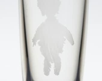 Depeche Mode Precious / mr Feather logo etched shot glass