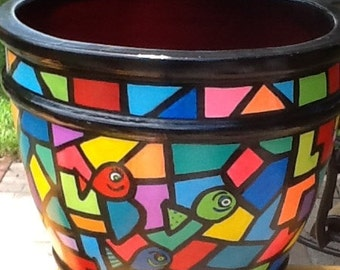 Hand Painted Terra Cotta Clay Pot