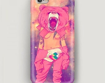Pink Bear iPhone 6 Plus Case, iPhone 6 Case, Funny Case for iPhone, iPhone 5s Case, Animal Print  iPhone 5c Case, iPhone 4 Case