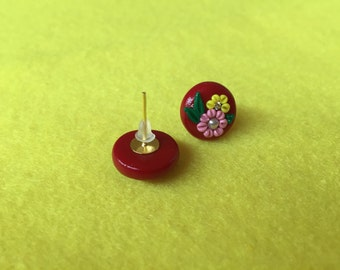 Polymer clay earrings | teen earrings |polymer clay studs | polymer clay jewelry | red floral studs | red studs | flower studs