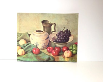 Vintage Lithograph Kitchen Still Life by Henk Bos / Fruit Still Life / Wall Decor
